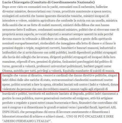 """Chi si appella al """"popolo italiano"""" è di destra, ma anche tanto. E può anche negarlo, prima o poi si scopre. Non esiste un razzismo di sinistra."""
