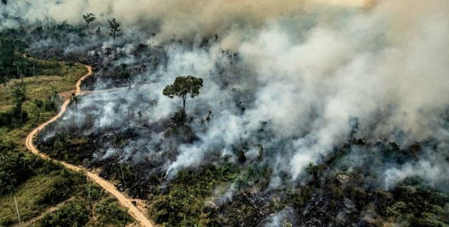 Un incendio ad Altamira, nello stato brasiliano di Par